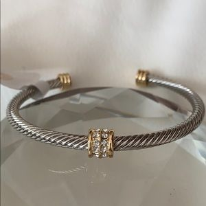 Two tone crystal cable cuff